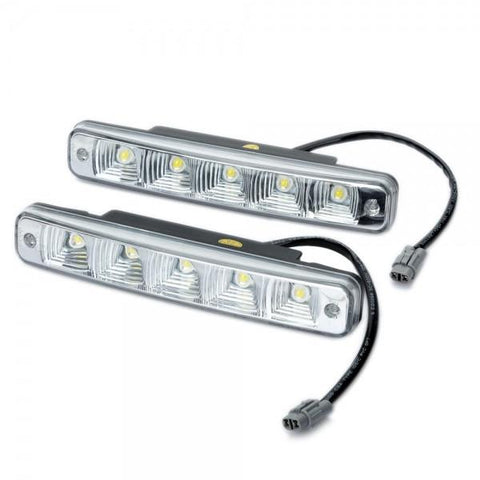 D03 10W 6000-7500K 350LM White 5-LED Car Daytime Running Light Black & Silver (DC 12V / Pair)
