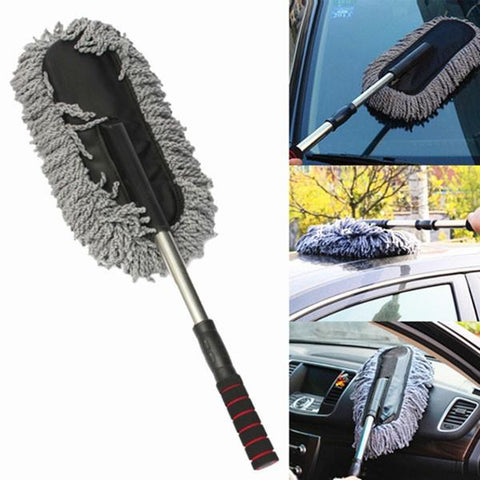 Detachable Rotary Car Wash Cleaning Brush Duster Dust Wax Mop Microfiber Telescoping Dusting Tool