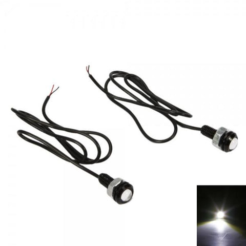Metal DC 12V Car LED DRL Reversing / Backing-up Signal Light White Light (Pair)