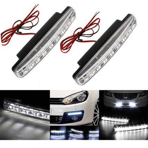 New 2pcs 8 LED Universal Car Super White Daytime Running Light