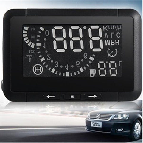"W01 2.3"" OBD II Car Head-up Display (HUD) with Speed/Speed Limit/Voltage Display & Shift/Water Temperature Reminder & Overspeed Warning Black"