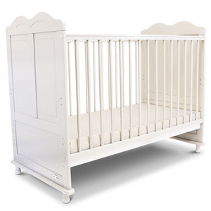 iSafe Baby Cot Bed Toddler Bed - Adam (White Including Mattress)