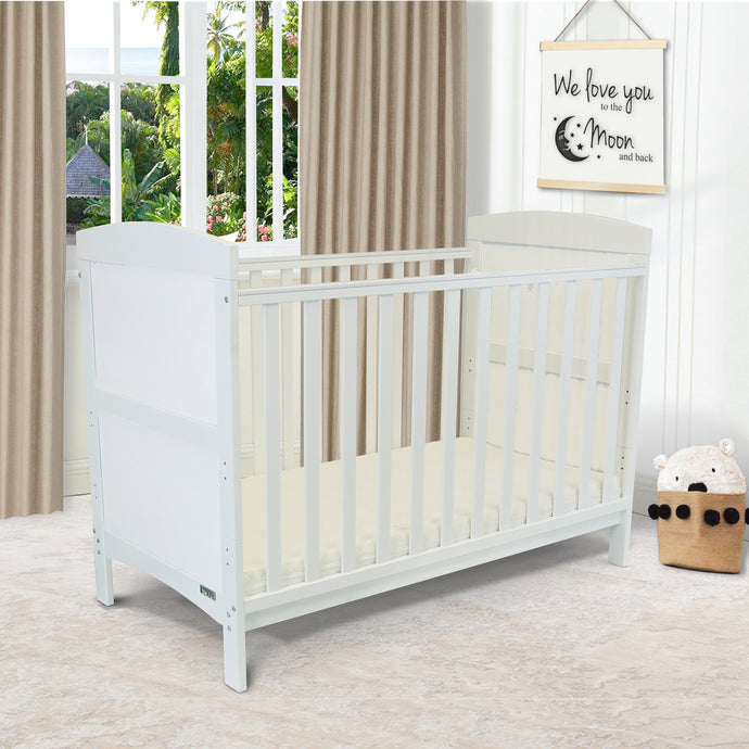 iSafe Baby Cot Bed Toddler Bed - Arnie (White Including Mattress)