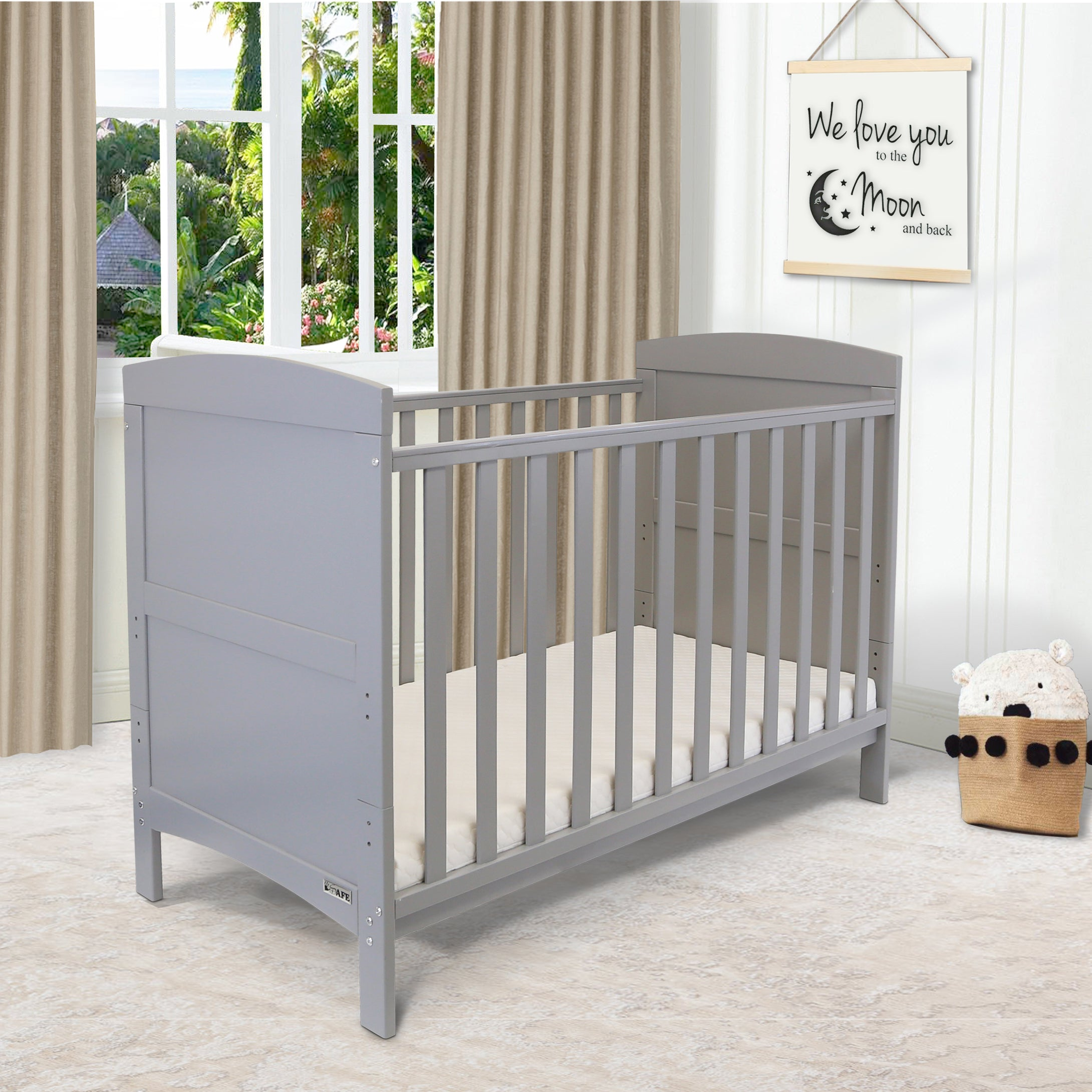 iSafe Baby Cot Bed Toddler Bed - Arnie (Grey Including Mattress)