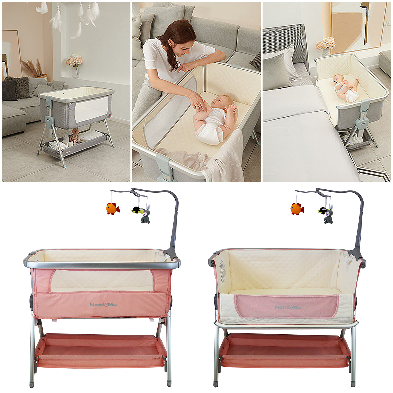Next To ME Bedside Baby Crib Coo-sleeper (Cookie)