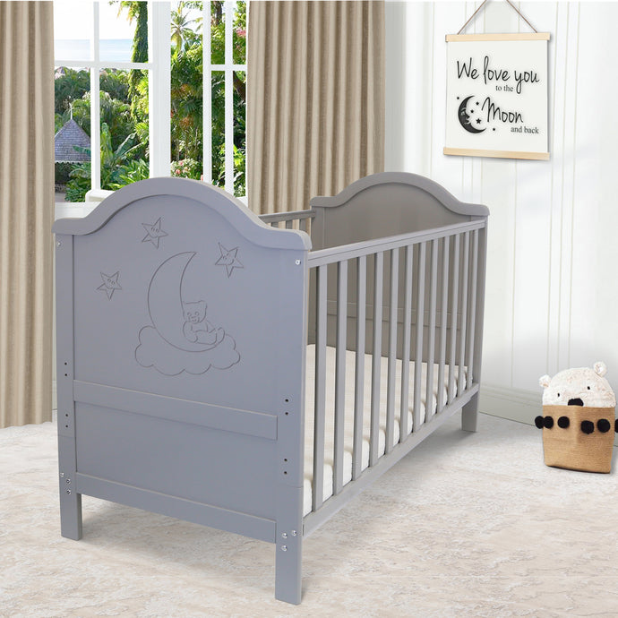 iSafe Baby Cot Bed Toddler Bed - Wendy (Grey Including Mattress)