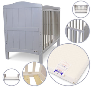 Baby Cot Bed Crib Grey iSafe