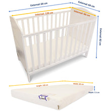 iSafe Baby Cot Bed Toddler Bed - Wendy (White Including Mattress)