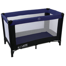 iSafe Rest & Play Luxury Travel Cot/Playpen - Navy (Black/Navy) 120 cm x 60 cm