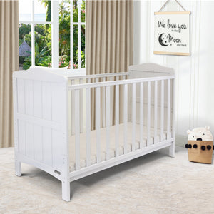 iSafe Baby Cot Bed Toddler Bed - Monika (White Including Mattress)