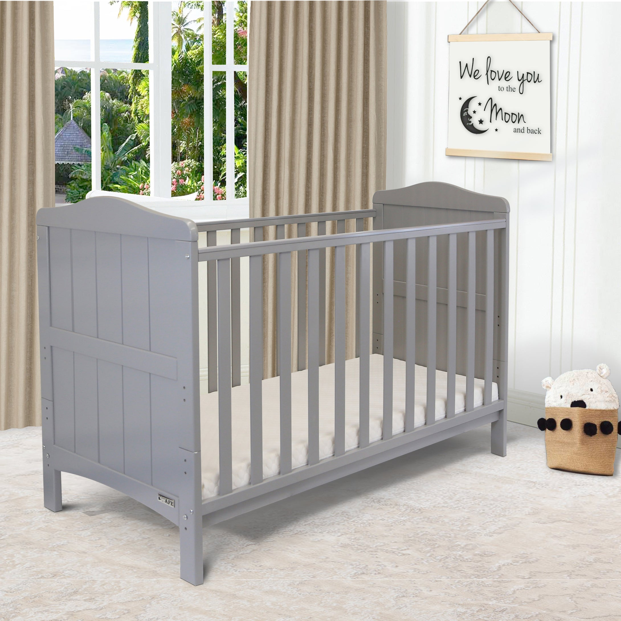 iSafe Baby Cot Bed Toddler Bed - Monika (Grey Including Mattress)