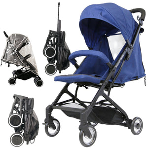 iSafe - Super MiNi Special Edition Floating Wheels Stroller - Navy (Complete With Free Rain-cover)
