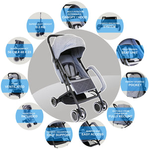 iSafe - Super MiNi Stroller - Grey (Complete With Free Rain-cover)