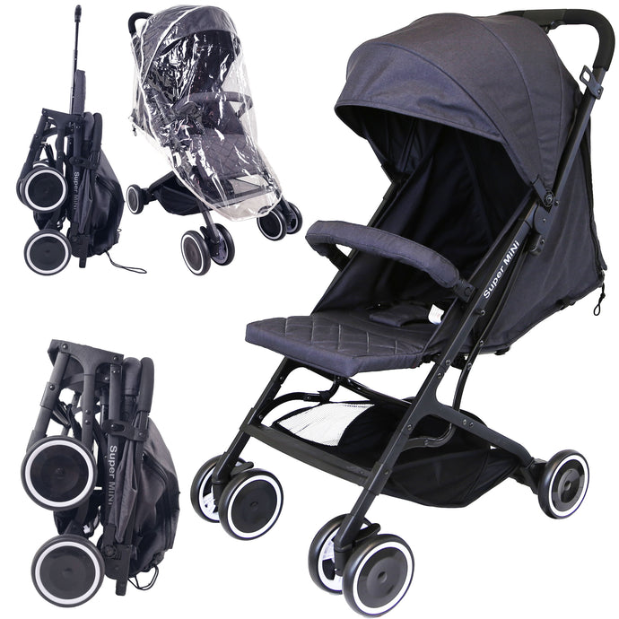 iSafe - Super MiNi Stroller - Black (Complete With Free Rain-cover)