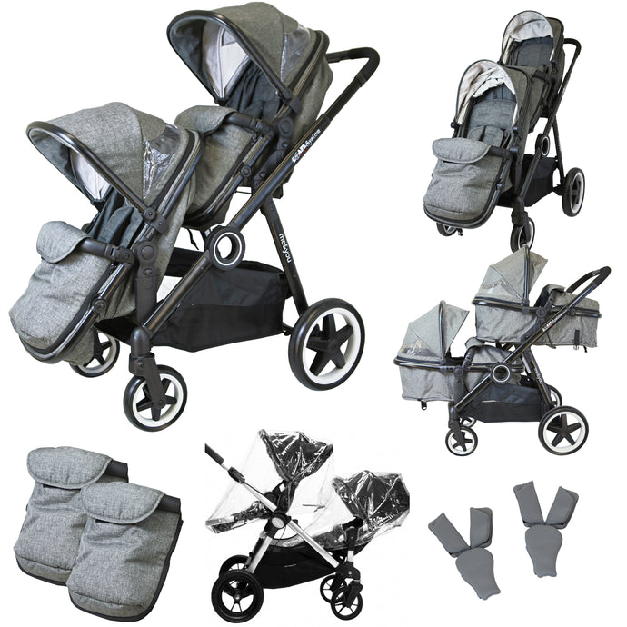 iSafe Tandem Double Pram Travel System - Harmony