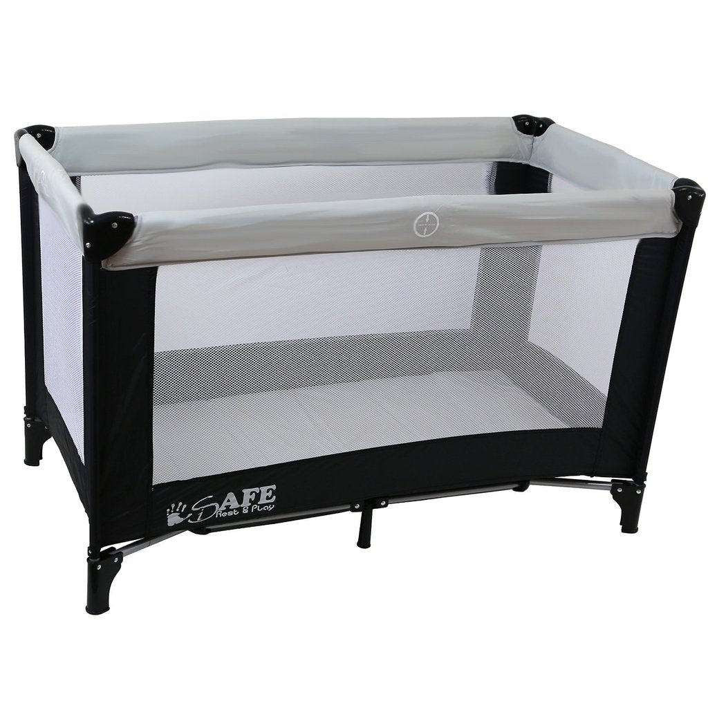 iSafe Rest & Play Luxury Travel Cot/Playpen - MoonStone (Black/Grey) 120 cm x 60 cm