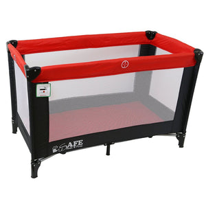 iSafe Rest & Play Luxury Travel Cot/Playpen - Warm Red (Black/Red) 120 Cm X 60 Cm