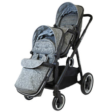 iSafe Tandem Double Pram Travel System - Silver Mist