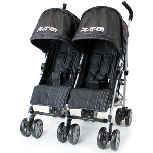 Zeta Vooom Twin Stroller -Black (Black)