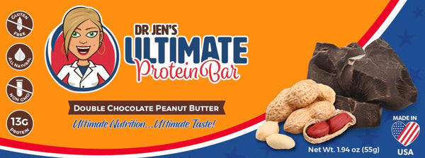 Dr. Jen's Ultimate Nutrition Bar - Double Chocolate Peanut Butter - High Fiber Protein Bars