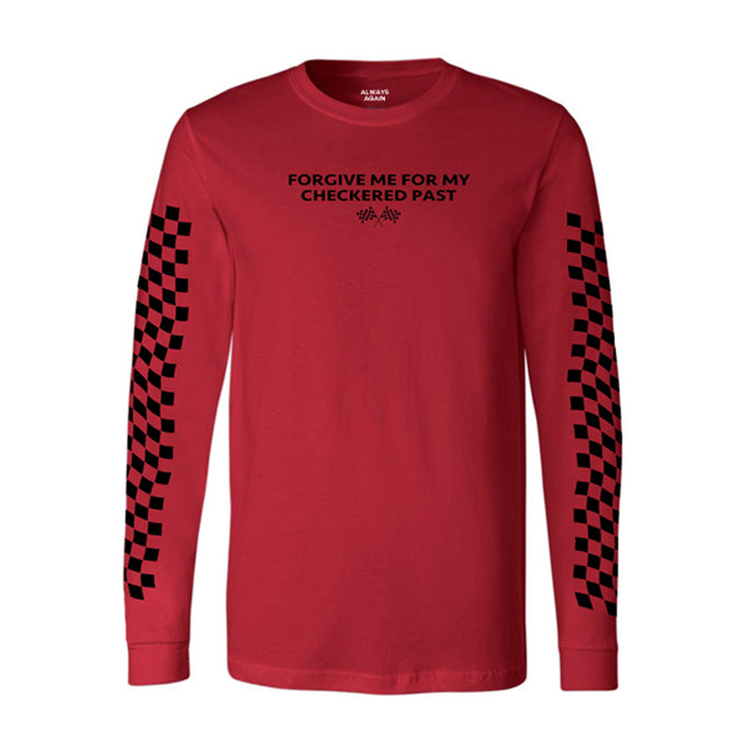 checkered past red long sleeve