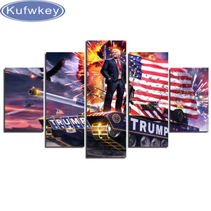"5 Piece set, ""Donald Trump"" full 5d diamond embroidery mosaic wall art painting home decoration"