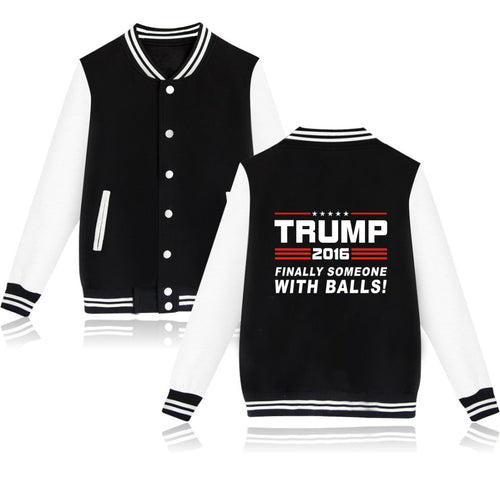 Donald Trump Baseball Jacket Winter Hoodies Womens Casual Black