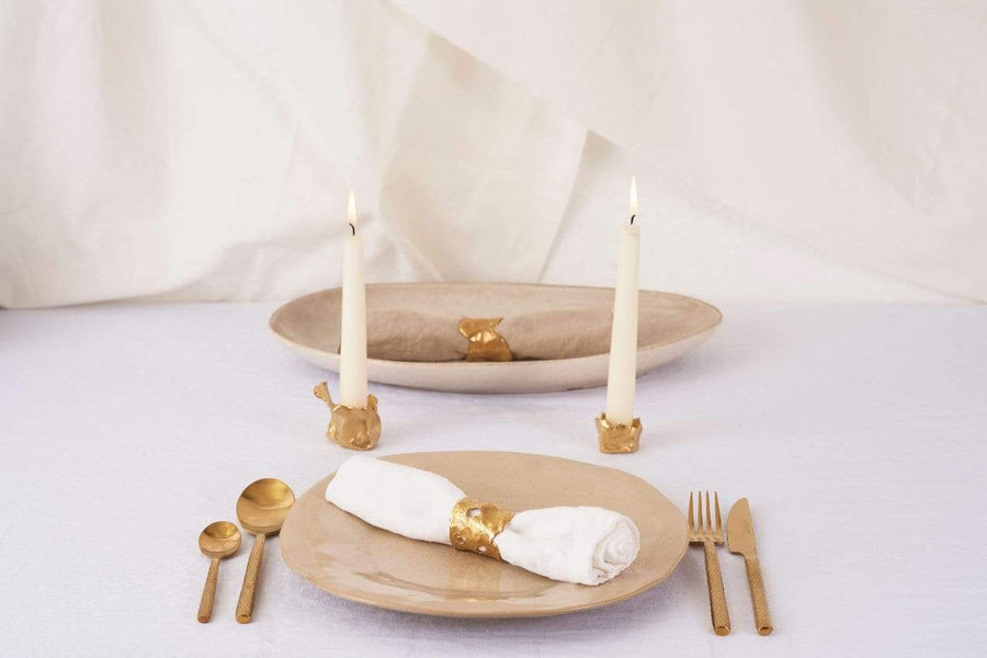 LARGE GOLD CANDLE HOLDER