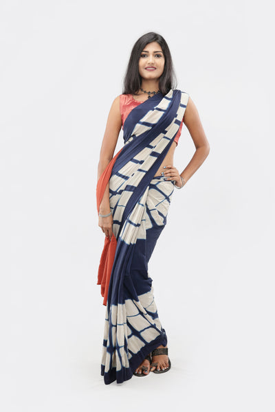 Living Blue Saree: Design-005