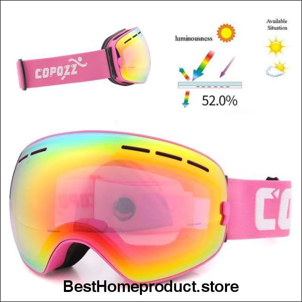 e55d608b4d11 COPOZZ brand ski goggles double layers UV400 anti-fog big ski mask glasses  skiing men. Tap to expand
