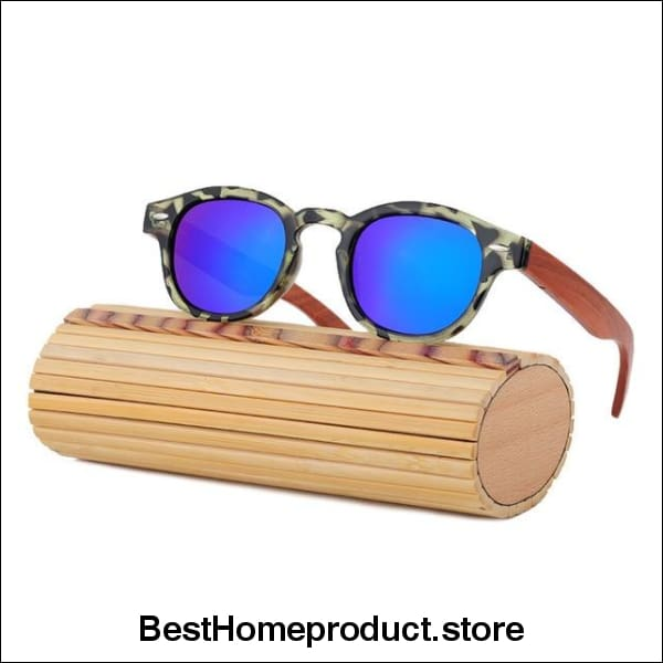 edd2ce8b7549a Hover to zoom · HINDFIELD Wood Sunglasses Women Handmade Round Bamboo Sun  Glasses For Men Polarized Mirror Coating Lenses Eyewear