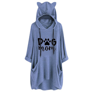 DOG MOM OVERSIZE HOODIE WITH DOG EARS