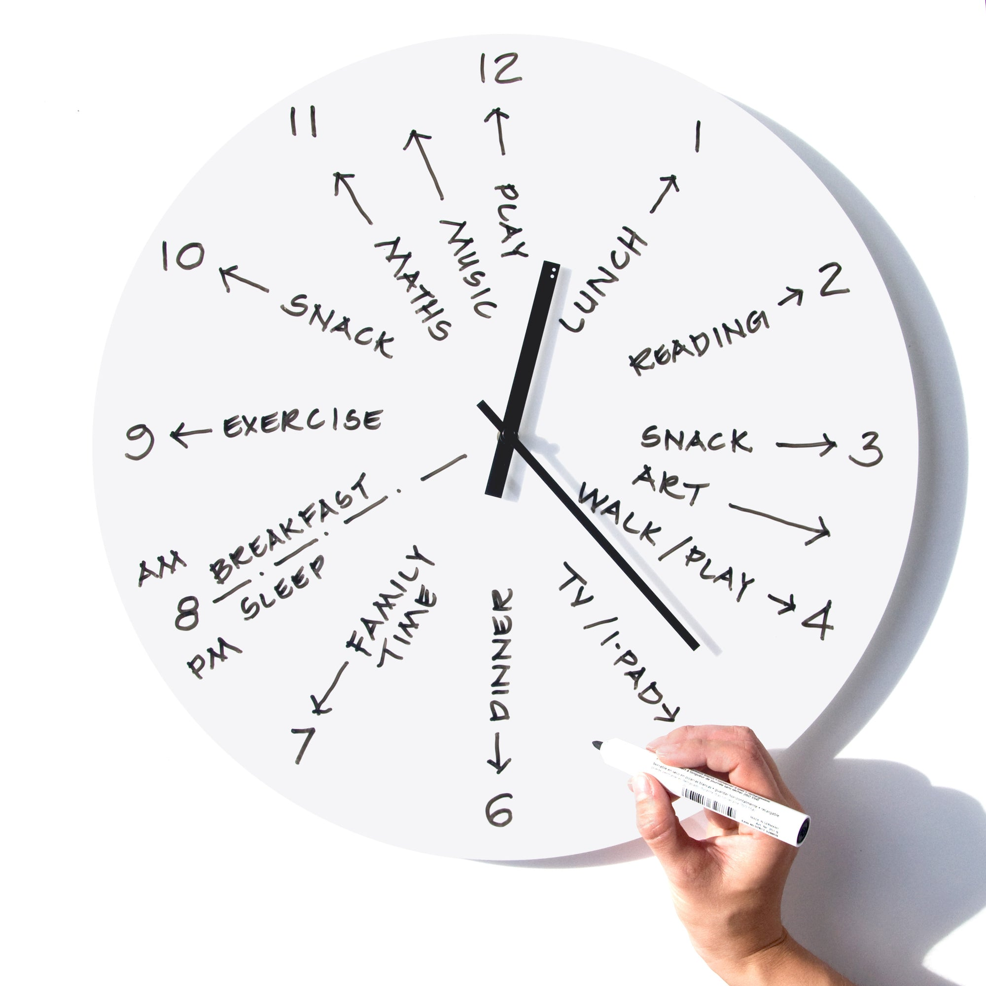 MANAGE YOUR TIME BY WRITING YOUR DAILY SCHEDULE ON YOUR CLOCK!