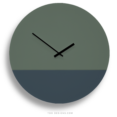 TOO TONE CLOCK Extra Large: Forest, Slate Blue