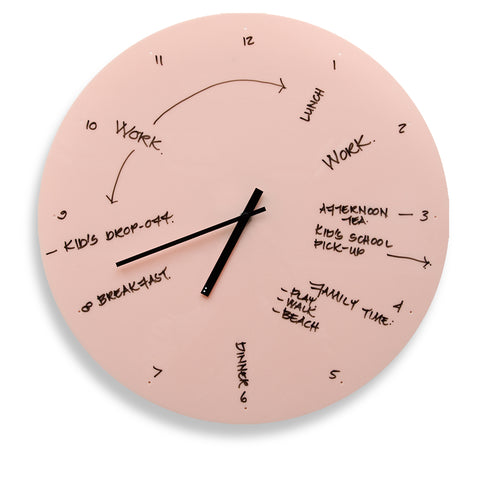 TOO designs TOO do day planner wall clock in pink work life balance