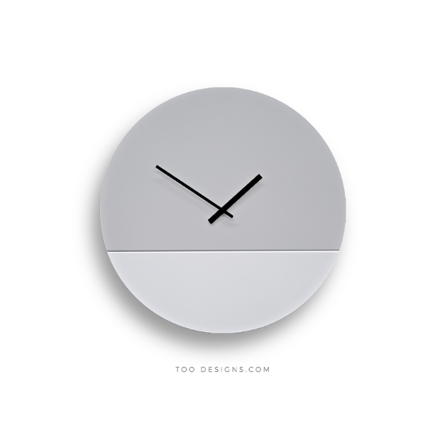 TOO TONE CLOCK Large: Cement, White