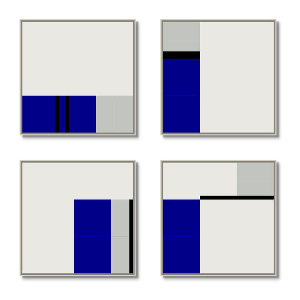 Large Square canvas & Collection 3J: Cobalt, Cement, Slate Blue