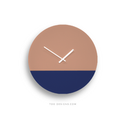 TOO TONE WALL CLOCK: Salmon Pink & Cobalt Blue