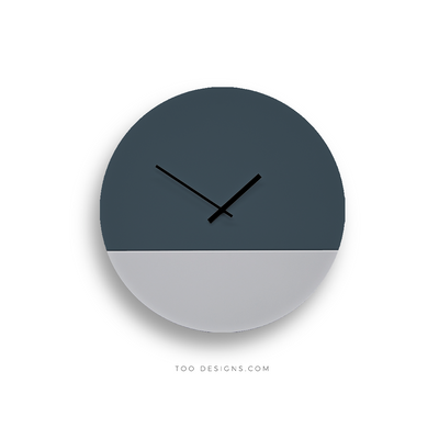 TOO TONE CLOCK Large: Slate Blue, Cement