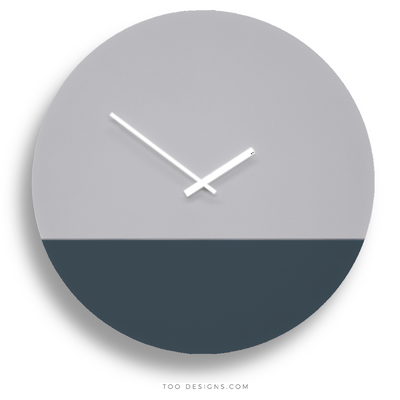 TOO TONE CLOCK Extra Large: Cement, Slate Blue