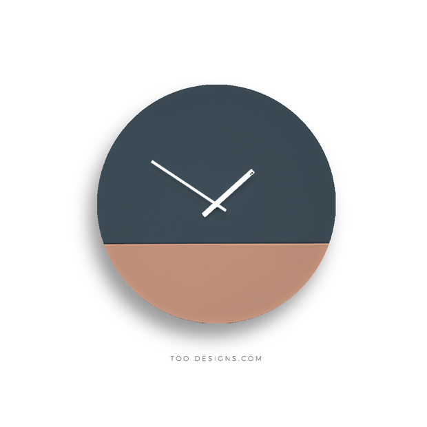TOO TONE CLOCK Large: Slate Blue, Salmon