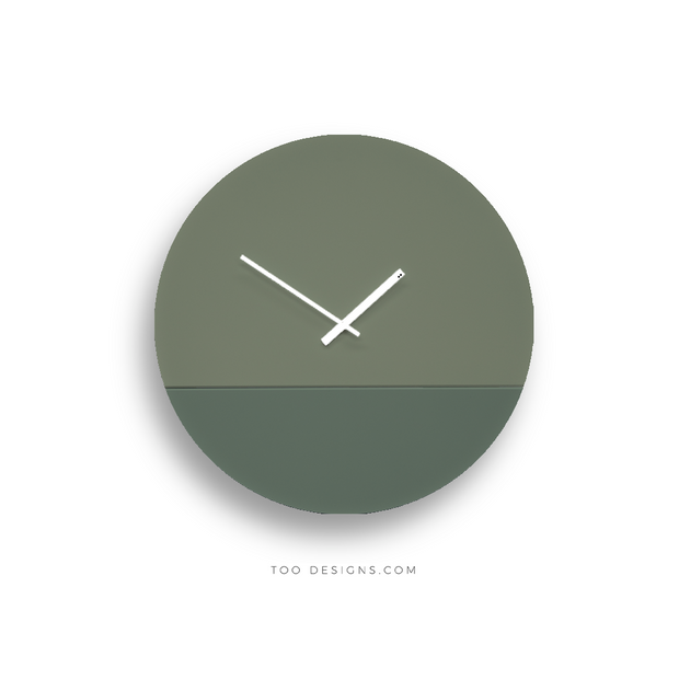 TOO TONE CLOCK Large: Eucalyptus, Forest