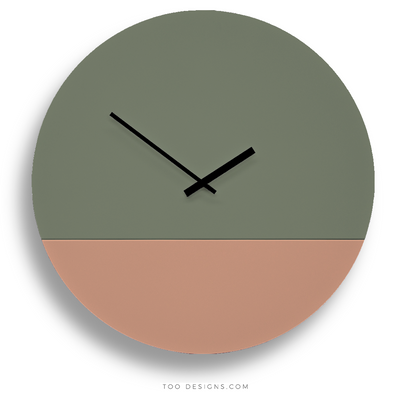 TOO TONE CLOCK Extra Large: Eucalyptus, Salmon