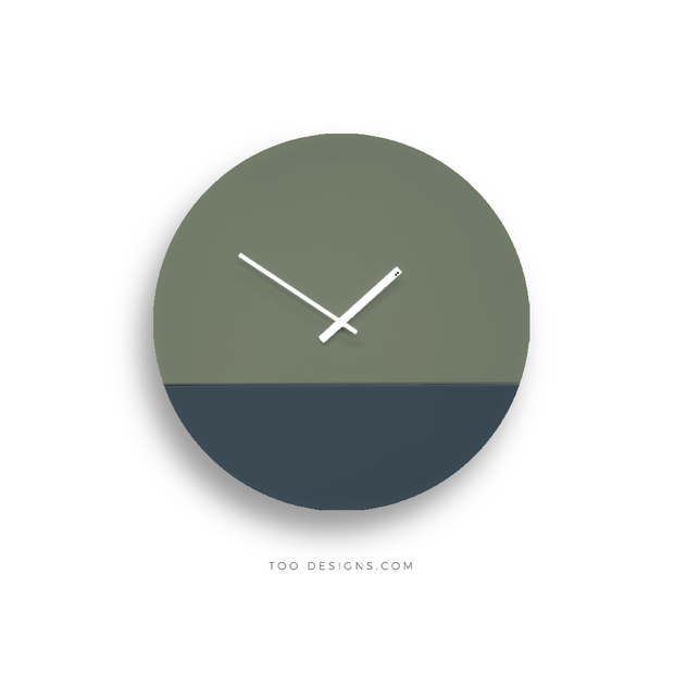 TOO TONE CLOCK Large: Eucalyptus, Slate Blue
