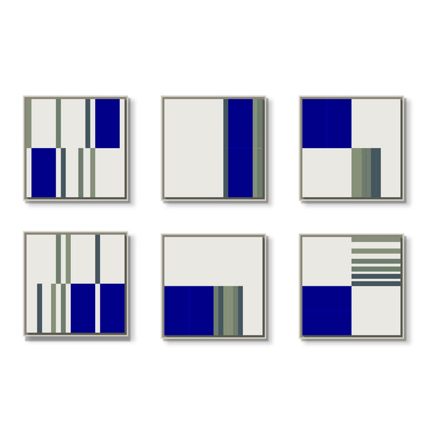 Standard Square canvas & Collection 4J: Cobalt, Slate Blue, Forest