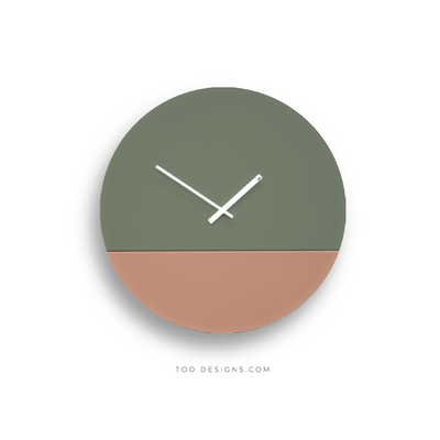TOO TONE CLOCK Large: Eucalyptus, Salmon