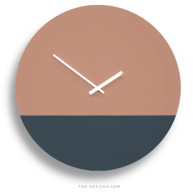 TOO TONE CLOCK Extra Large: Salmon, Slate Blue