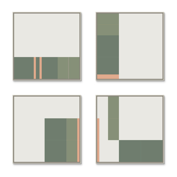 Large Square canvas & Collection 3H: Salmon, Eucalyptus, Forest
