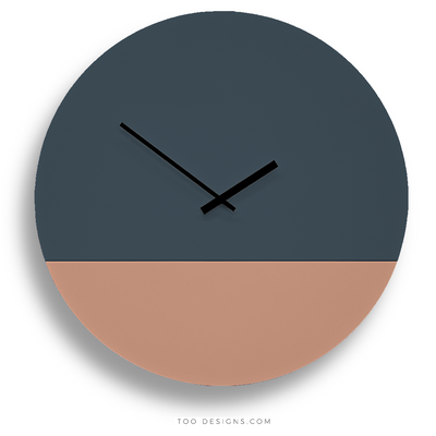 TOO TONE CLOCK Extra Large: Slate Blue, Salmon