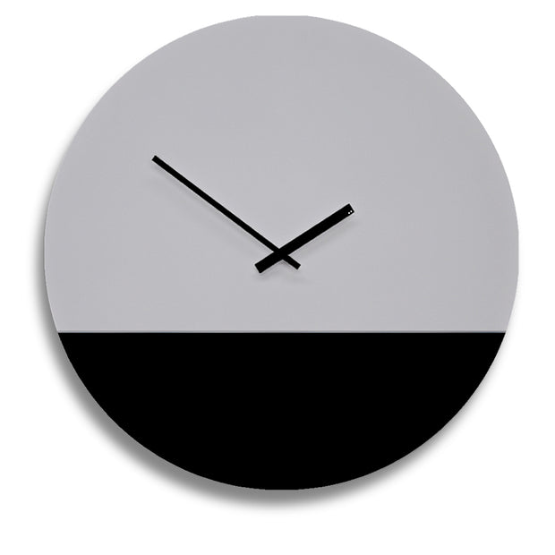 Two tone minimal wall clock by TOO designs in grey and black